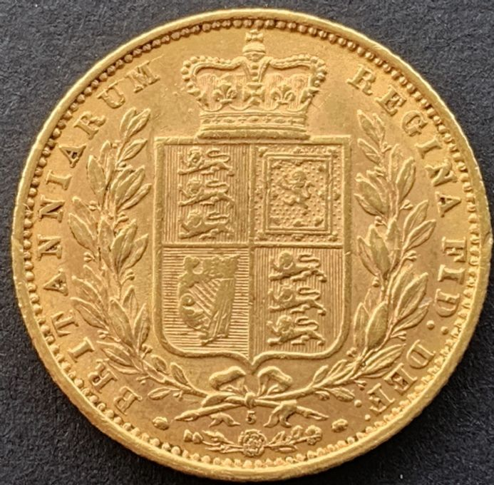 1871  Gold  Sovereign Coin Die No 5